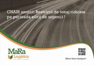 CNAIR - Restrictii de tonaj ridicate pe prioada starii de urgenta