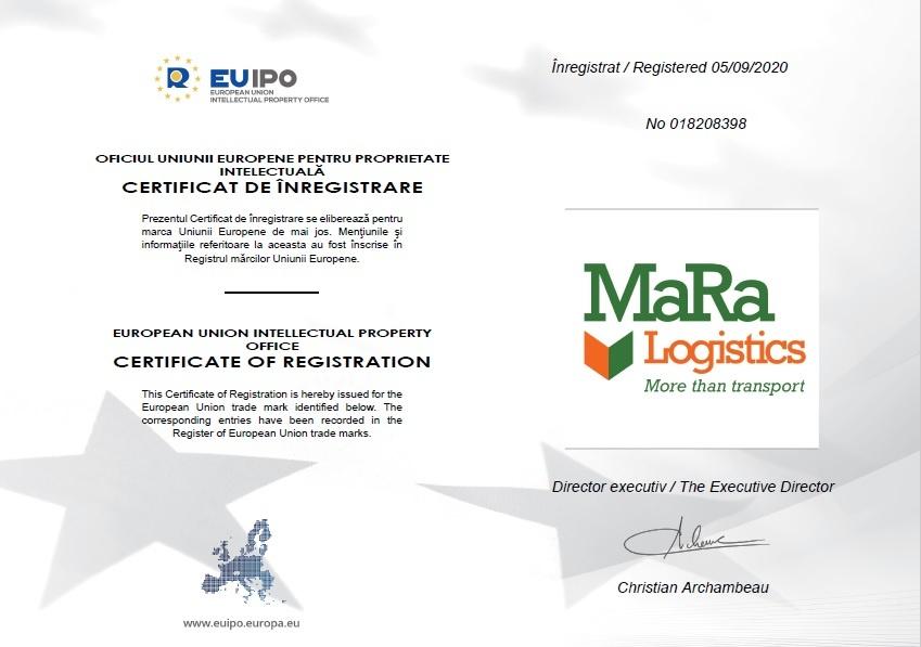 Atestat marca inregistrata MaRa Logistics